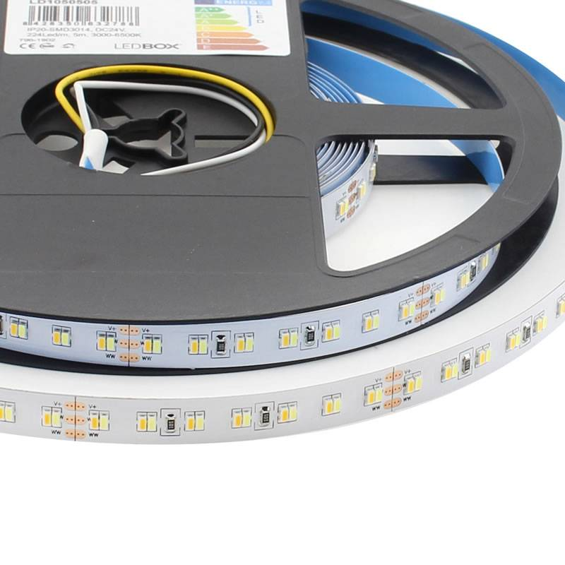 Tira LED Blanco Dual SMD3014, DC24V, 5m (224 Led/m) - IP20, Blanco dual